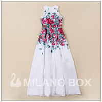 Brief Spring Summer 2014 Women Silk Dress Elegant Expansion Bottom Long White Party Dresses Flower Printing Dress Floral Dress