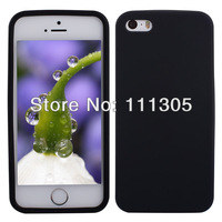 Free Shipping Black Shockproof Silicone Soft Back Cover Case for iPhone 5 5S