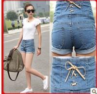 free shipping Denim shorts female high waist denim shorts female summer women's plus size shorts