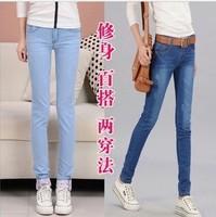 free shipping Roll up hem women's jeans female trousers skinny pants autumn women's trousers