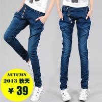 free shipping Female skinny jeans pants plus size buttons pencil pants thin women's long trousers denim