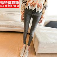 Double button autumn women's jeans trousers dark grey slim female skinny pants