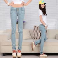 Pants female skinny jeans pants light blue high elastic waist buttons trousers slim women's trousers