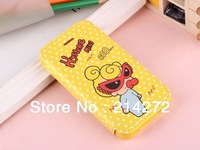 Free shipping Cute Cartoon Hysteric Mini flip cover leather case stand For iphone 4 / iphone 4s case with card holder