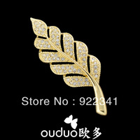 2014 New rhinestone brooches classic women's leaf brooch top quality gift jewelry $10 FREE shipping