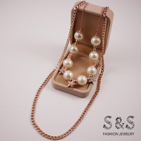 2014 18k rose gold plated pearl with star long chain necklace for women dress