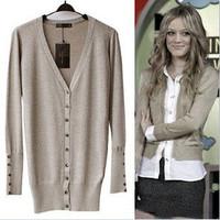 Fashion normic bling fabric women's shell button medium-long elegant slim long-sleeve sweater cardigan