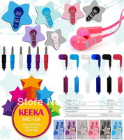 Free shipping Wholesale New cute KEEKA Super Bass In-Ear Earphone Headphone MIC104 20 pcs a lot 6 colors retail pack