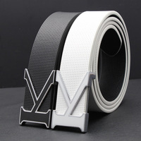 Strap male white all-match belt male genuine leather cowhide fashion check belt male smooth buckle