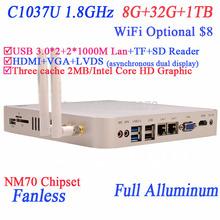 Fanless Panel PC Intel Celeron 1037U 1080P HTPCS 29mm Ultra Thin Mini PCs with USB 3