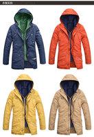 2014 winter Blue Khaki Orange Yellow 4 colors Men 2-pieces detachable hooded  Locomotive style jacket outwear top WM400656