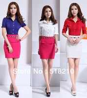 2014 Newest Spring summer OL elegant slim Short Sleeve career suits ( Shirt+Skirt) for women Plus Size XXL Work Wear Sets