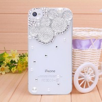 Case for iPhone 4 case for iPhone 4s diamond white mouse head phone bag 2014 new fashion Mobile Border Protection free shipping