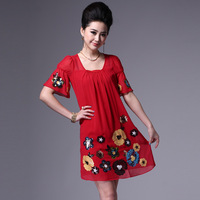 Free shipping Fashion women's 288 embroidery paillette flower silk short-sleeve loose one-piece dress