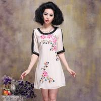 2013 spring and summer plus size clothing ladies elegant peony embroidery flower half sleeve slim one-piece dress xxl