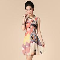 2014 spring and summer fashion women's fashion print zipper sleeveless vest expansion bottom princess one-piece dress