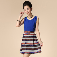 Free shipping 2014 spring and summer fashion women's new arrival stripe color block print slim sleeveless vest one-piece dress