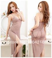 Fashion Sexy Lingerie Dress Women's Apparel Underwear Lace Sheer LONG GOWN Sleepwear Robe Pajama Set Nightwear+G-string#5098