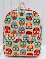 New 2014 OWL printing backpack children backpacks women travel bags girl cartoon brand shoulder bags canvas school backpack bag