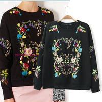 Topshop autumn and winter fine embroidery flower black women's pullover sweatshirt fleece t-shirt female
