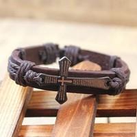 Free shipping! Fashion Cross decorative charm bracelet for women or men, Trendy casual bracelet, Hot Sales!