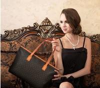2014 New  Fashion Hot Sale Simple Plaid PU Leather Black Bag Women Handbag Casual Bag Ladies Shoulder Bag free shipping p55
