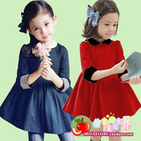 Honey 2014 spring girls clothing roll-up hem half sleeve peter pan collar pleated princess one-piece dress baby dress