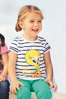 Spring & autumn girl`s Children's clothing summer female child duck stripe t-shirt  twinset casual short-sleeve free shipping