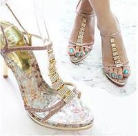 New 2014 Woman high heels Summer Sandals Sexy open toe high heel rhinestone wedding shoes women pumps Size 34-40  6802
