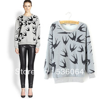 2014 New Fashion Women Swallow Printing Long Sleeve Sweater Shirt Pullover Tops