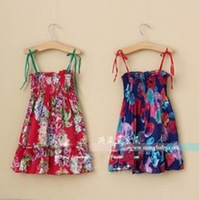 2013 female child spaghetti strap one-piece dress child ink flower tube top dress big skirt beach half-length dress