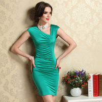 Women's New 2014 Spring Sexy Slim Fit Hip Short Design V-Neck Sleeveless XL Plus Size Sheath One-Piece Women Bodycon Dress