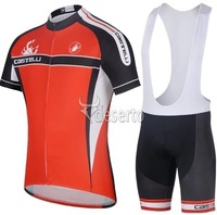2014 New castelli red Short Sleeve Cycling Jersey /Bike Bicycle Wear With  Bib Shorts Suits Size :S~XXXL