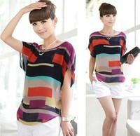 ST08 fashion Women blouse chiffon shirts Multi-colour Striped print Loose style Short Sleeve Brand Blouse casual plus size top