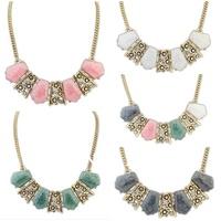 2014 New Fashion Women Luxury Statement Necklaces Trendy Alloy Gemstone Bib Choker Necklace Korean Style High Quality Jewelry