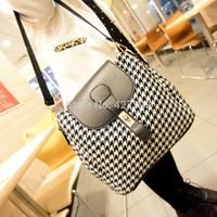 Black and white plaid bags woven bag color block bag women's handbag one shoulder cross-body bag small