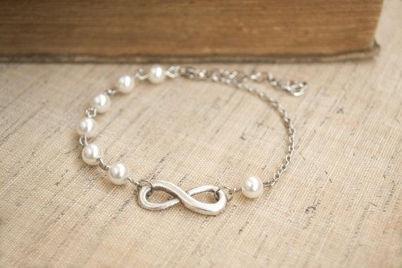 Infinity Bracelet White Pearl Bracelet Friendship Bridesmaid Gift Dainty Feminine Infinity and Pearl Jewelry LSB 007