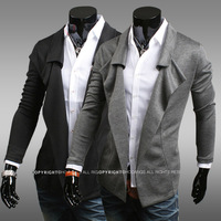 Fashion! Free Shipping 2014 personality men's outwear and blazers solid color personalized slim outerwear black&grey size M-XXL