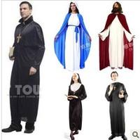 Halloween costumes for men adult & women,COS christmas Jesus& Cross priest&Men missionaries&Father monk costume,nun&Marian suit