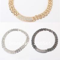 2014 New Fashion Women Statement Necklaces Trendy Diamante Alloy Bib Choker Necklace Korean Style High Quality Jewelry
