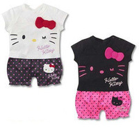 Summer retail children's clothing baby girls hello kitty cat style short-sleeved Romper Romper climbing clothes jumpsuit kids