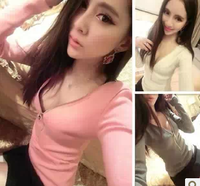 2014 spring elegant knitted sexy zipper V-neck long-sleeve T-shirt basic shirt