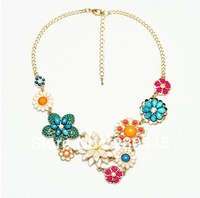 2014 New Fashion Women Flower Statement Necklaces Trendy Alloy Chunky Bib Choker Necklace Korean Style High Quality Jewelry