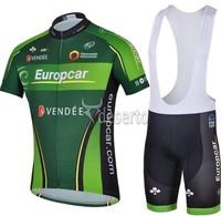 2014 New europcar Cycling Jersey /Bike Bicycle Wear With  Bib Shorts Suits Size :S~XXXL