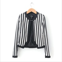 Spring and autumn women's fashion all-match women's elegant vertical stripe stand collar open front long-sleeve outerwear female