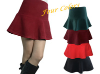2014 Spring Autumn Mid Waist Slim Hip mermaid skirt short thickening woolen ruffle skirt A-line Burgundy Emerald, Free Shipping