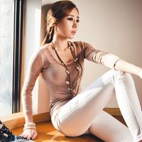 2014 spring casual women's slim sexy o-neck long-sleeve T-shirt basic shirt top