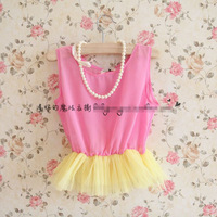 2014 girl summer chiffon dress fashion pearl necklace dress 5pcs/lot