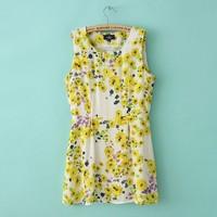 Mango 2013 fashion women's summer chiffon one-piece dress sleeveless one-piece dress loose chiffon shirt