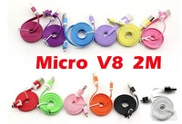 1000pcs noodle flat 2M/6FT V8 Micro usb data cable for Samsung S1 S2 S3 S4 I9300 HTC ONE X LG MOTOEOLA Free DHL/Fedex